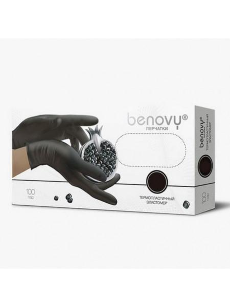Перчатки термопластичный эластомер BENOVY, L, чёрные, 200штук/100пар
