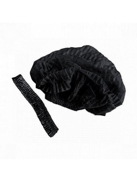 Шапочка-клип спанбонд чёрная White line 50 шт.